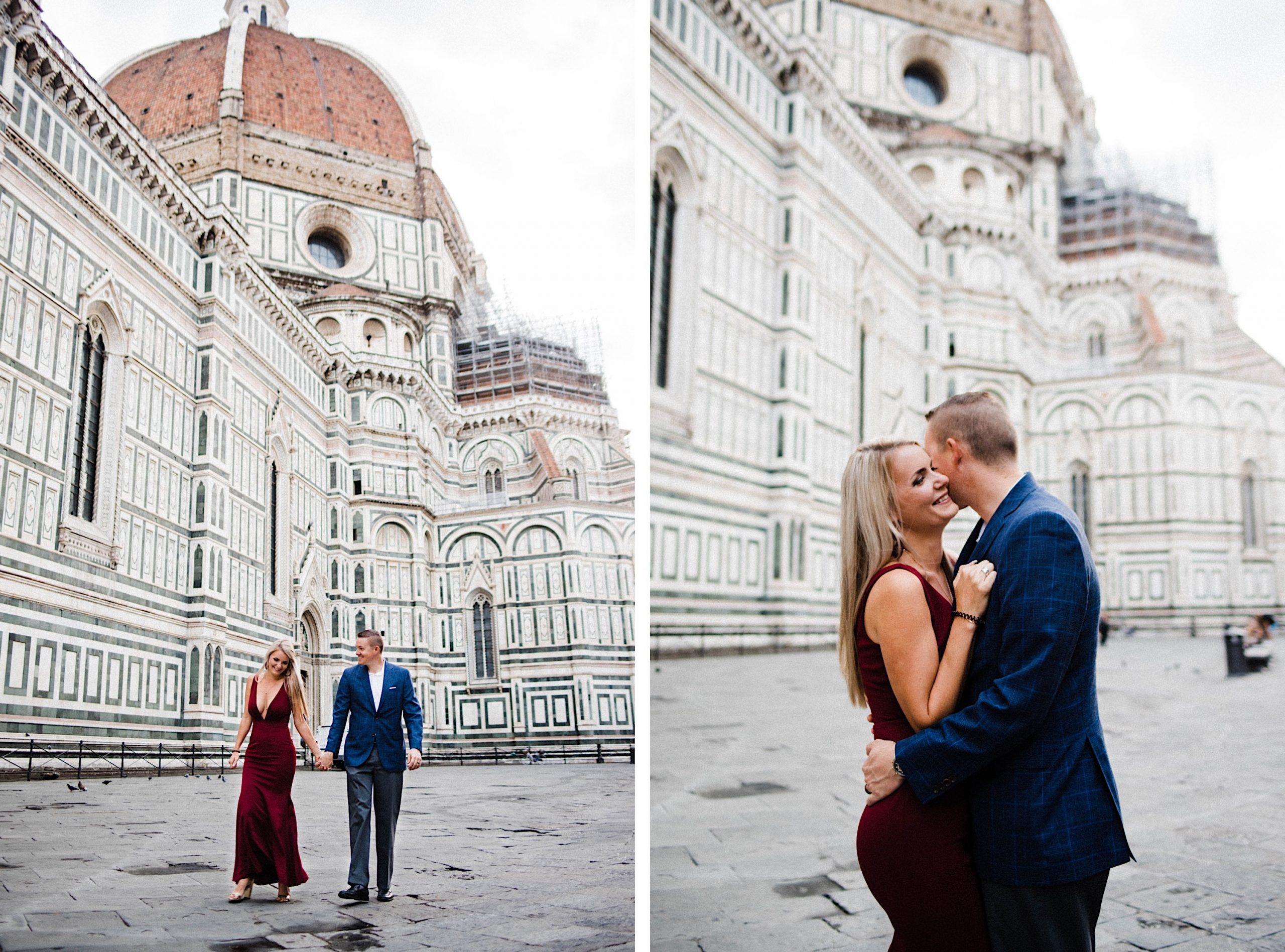 Two photos side by side. Left: wide shote of a couple walking hand-in-hand in front of the Cathedral of Santa Maria Fiore in Florence. Right: a photo in the same spot, but a mid-shot, of the same couple hugging.