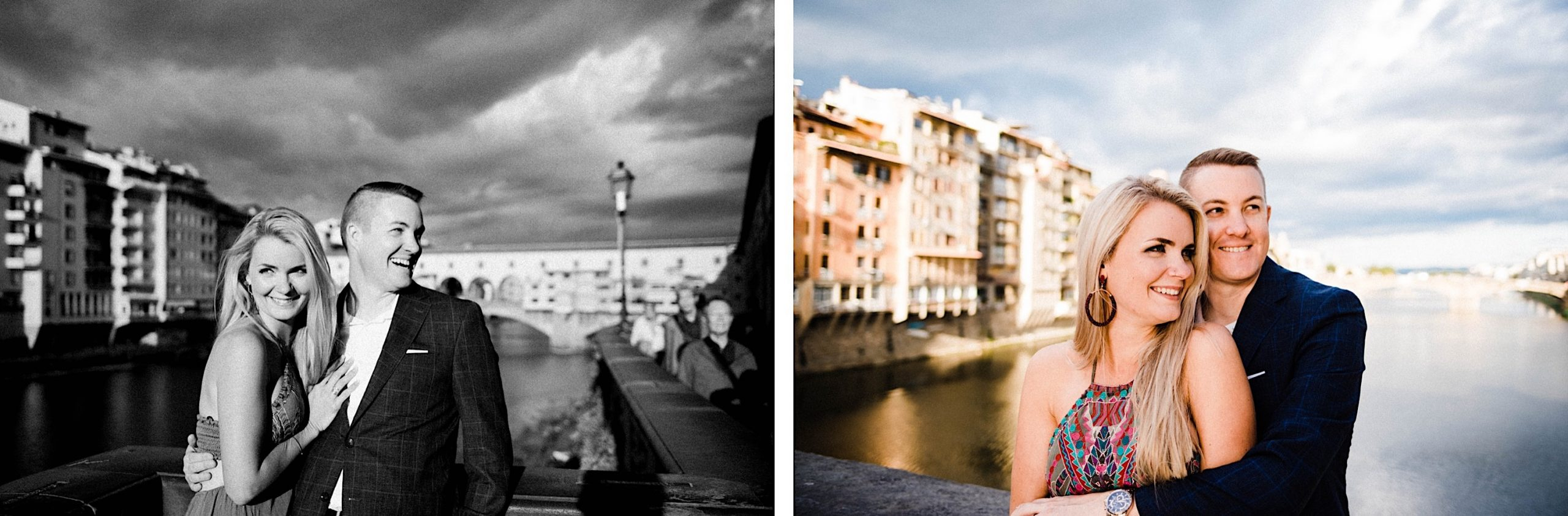 A couple laughs and smiles. In the background, a storm rolls in over the Arno River and Ponte Vecchio in Florence.