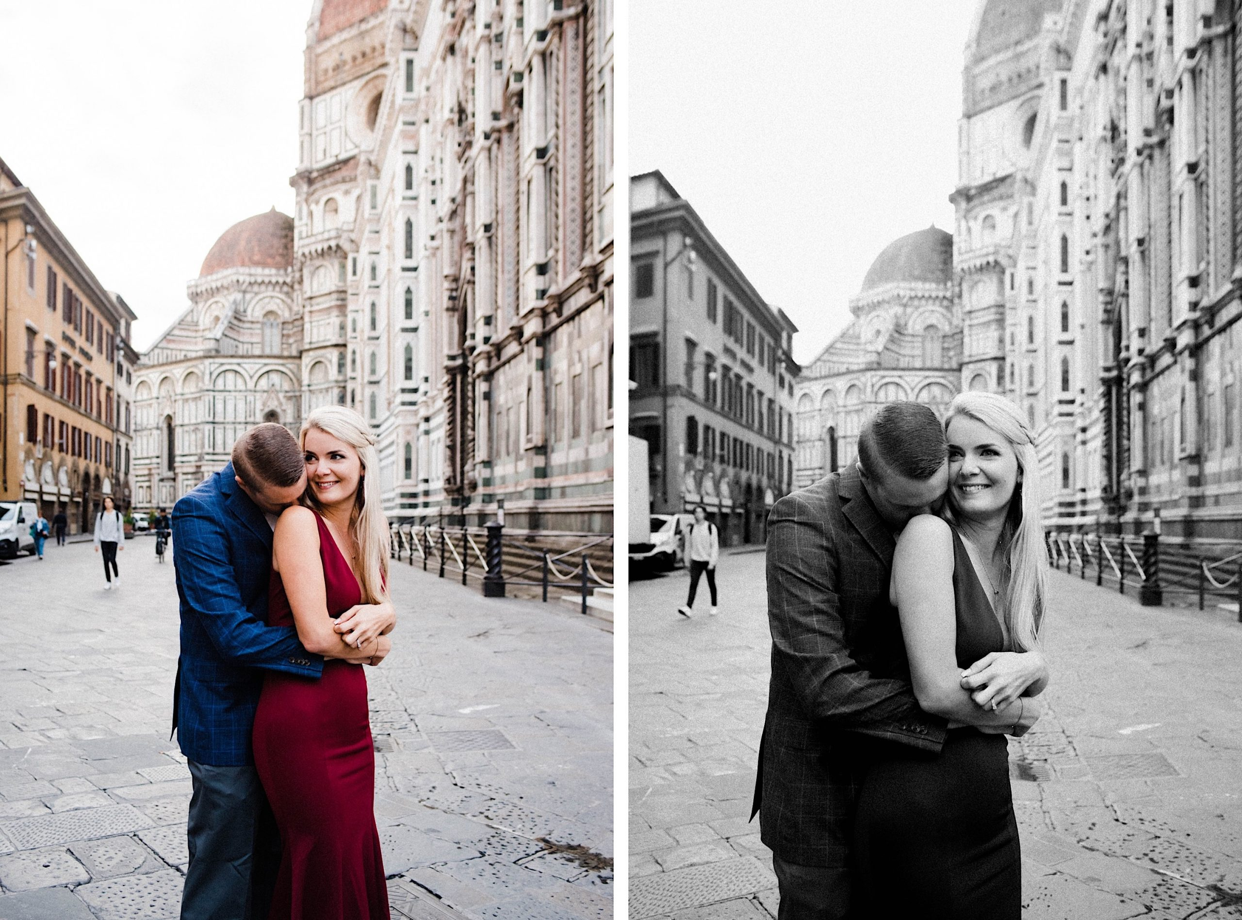 Side by side photos from an Anniversary Portrait Session in Florence, in front of the Duomo di Milano, of a couple embracing and laughing. The right photo is black & white.