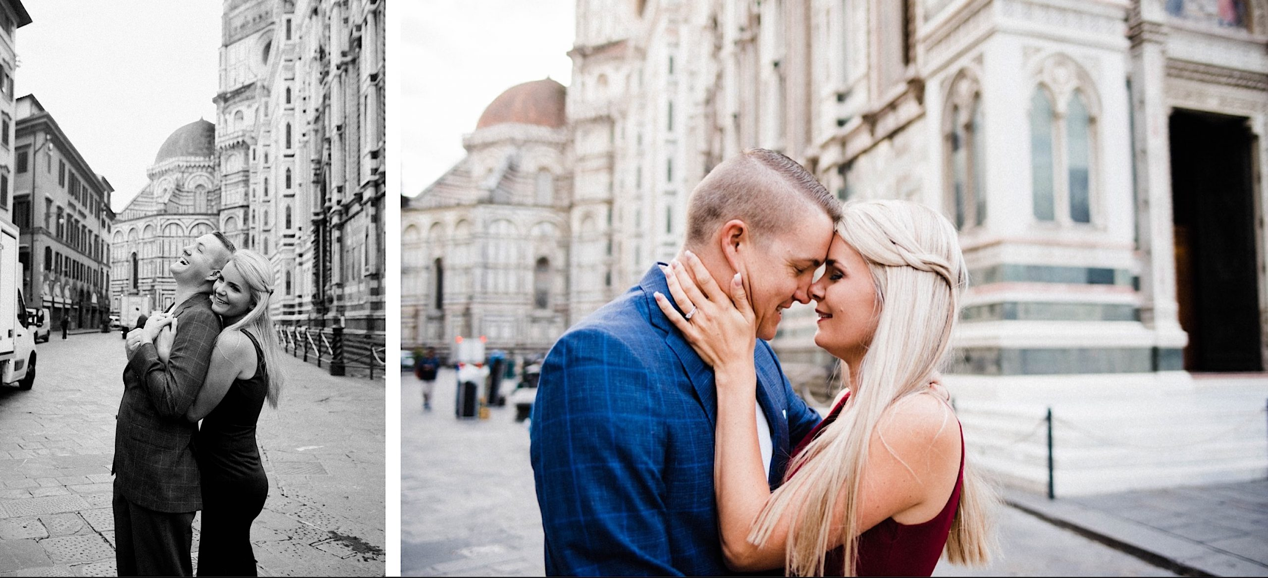 Left: a black & white portrait image of a woman hugging her husband from behind as he laughs. Right: a couple shares a tender moment with the entrance of Florence's Duomo in the background.