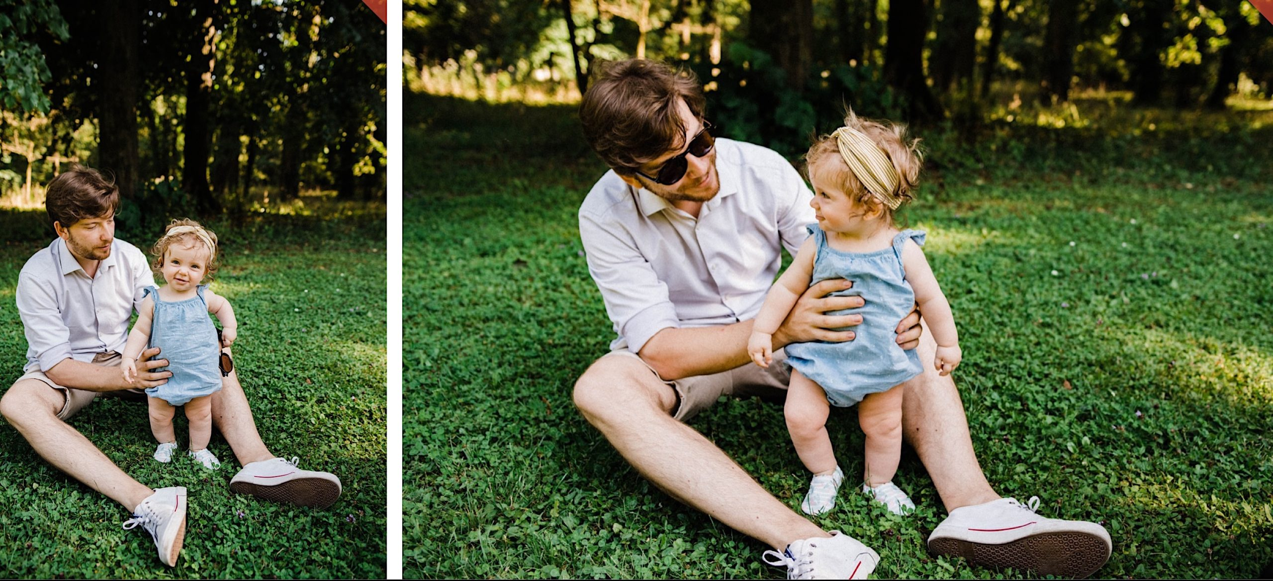 Side-by-side images from a Monza Family Photography session of a Dad sitting in the grass, holding his baby girl who's learning to walk.