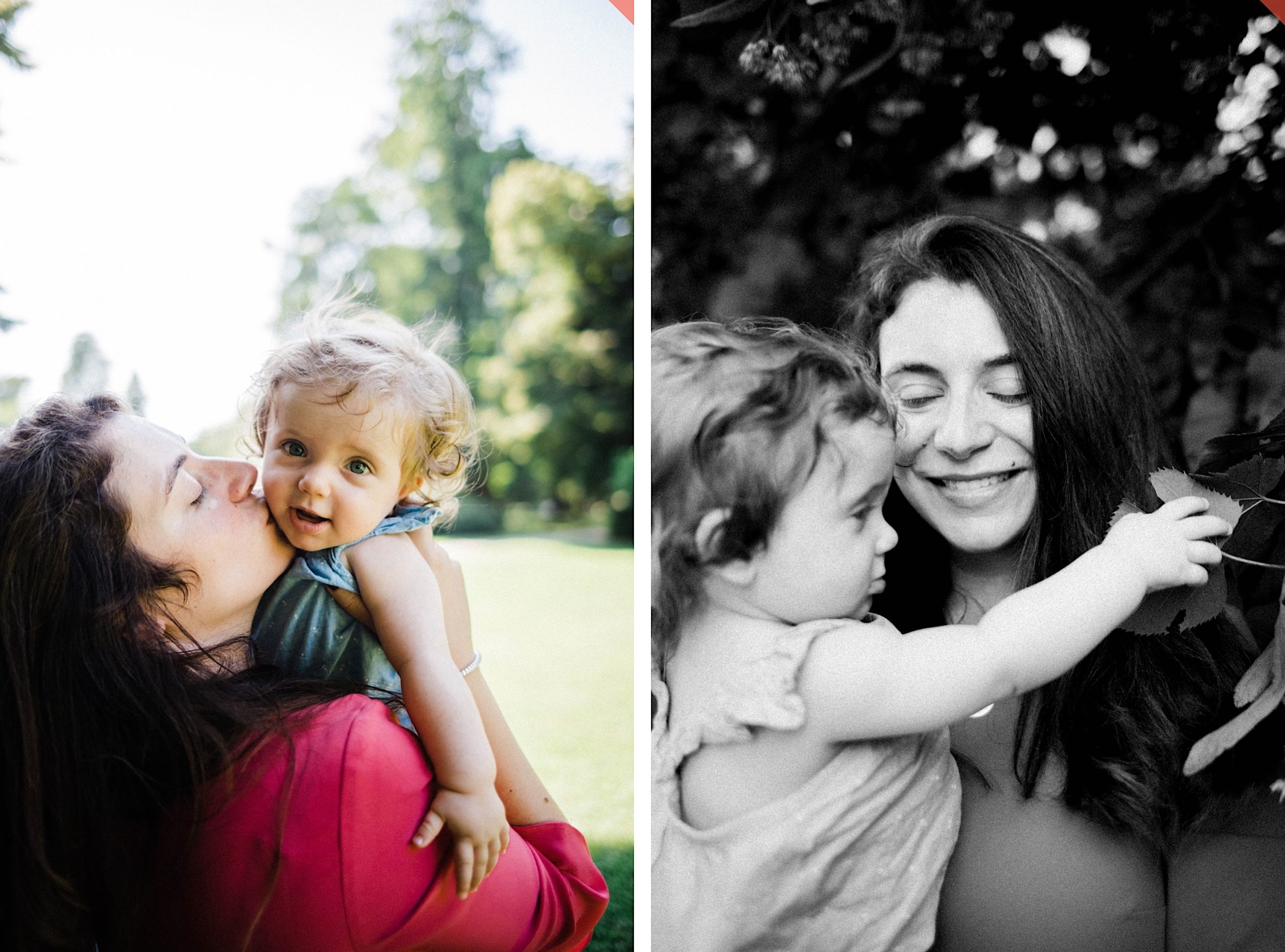 Side-by-side candid family portraits. Left: A Mum kisses her baby girl's cheek surrounded by trees at the Parco di Monza. Right: A Black and white portrait of Mum laughing while her baby reaches for a leaf.