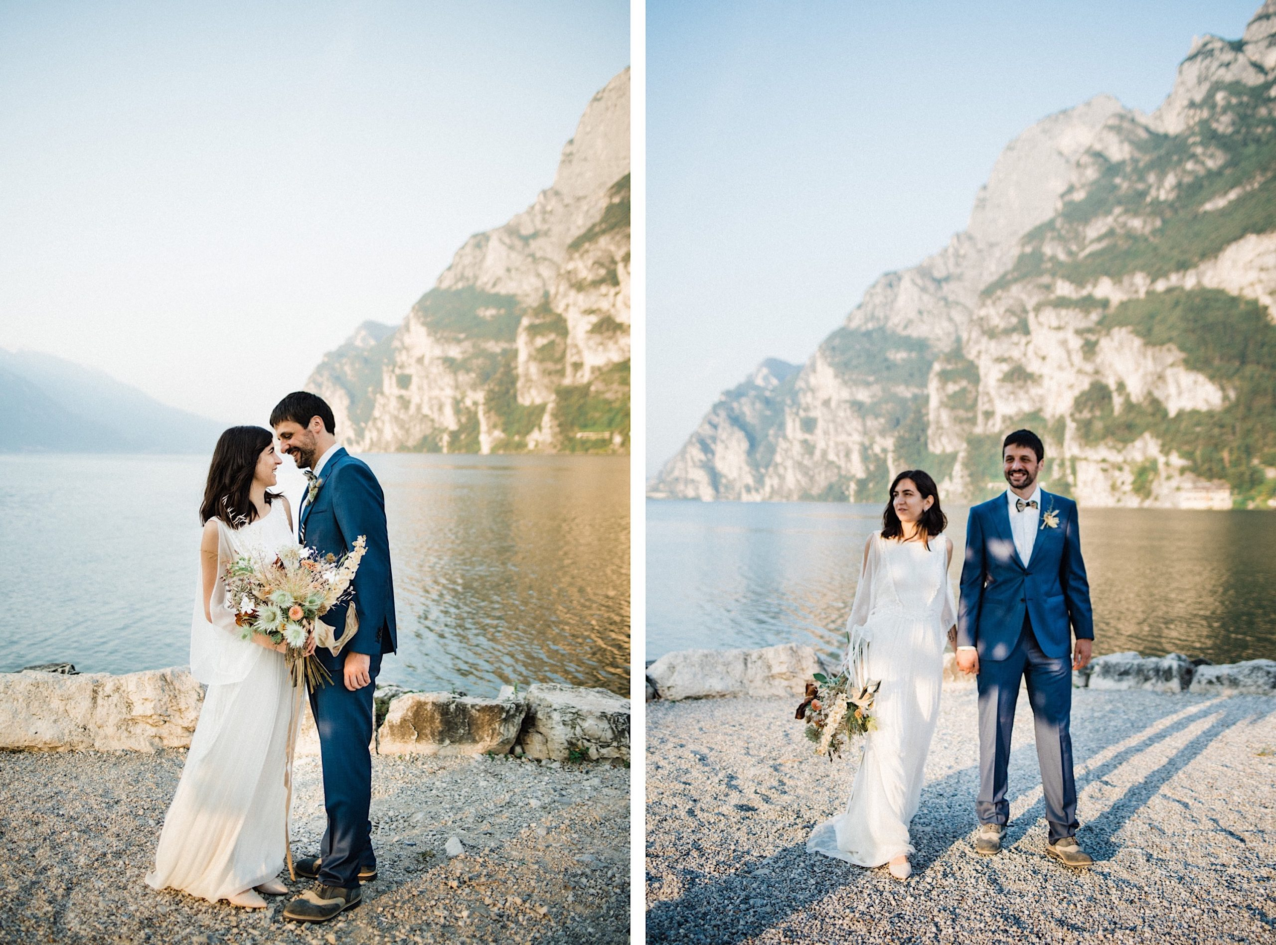 Two portraits by an Italian Elopement Photographer, side-by-side, of a couple in front of Lake Garda walking and smiling on their elopement day.