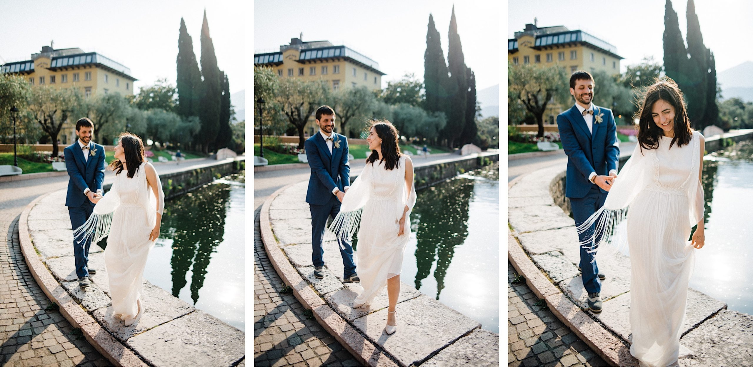 Three photos, side-by-side, by an Italian Elopement Photographer, of a couple walking and holding hands as they walk along a lake, with and Italian village on Lake Garda in the background.