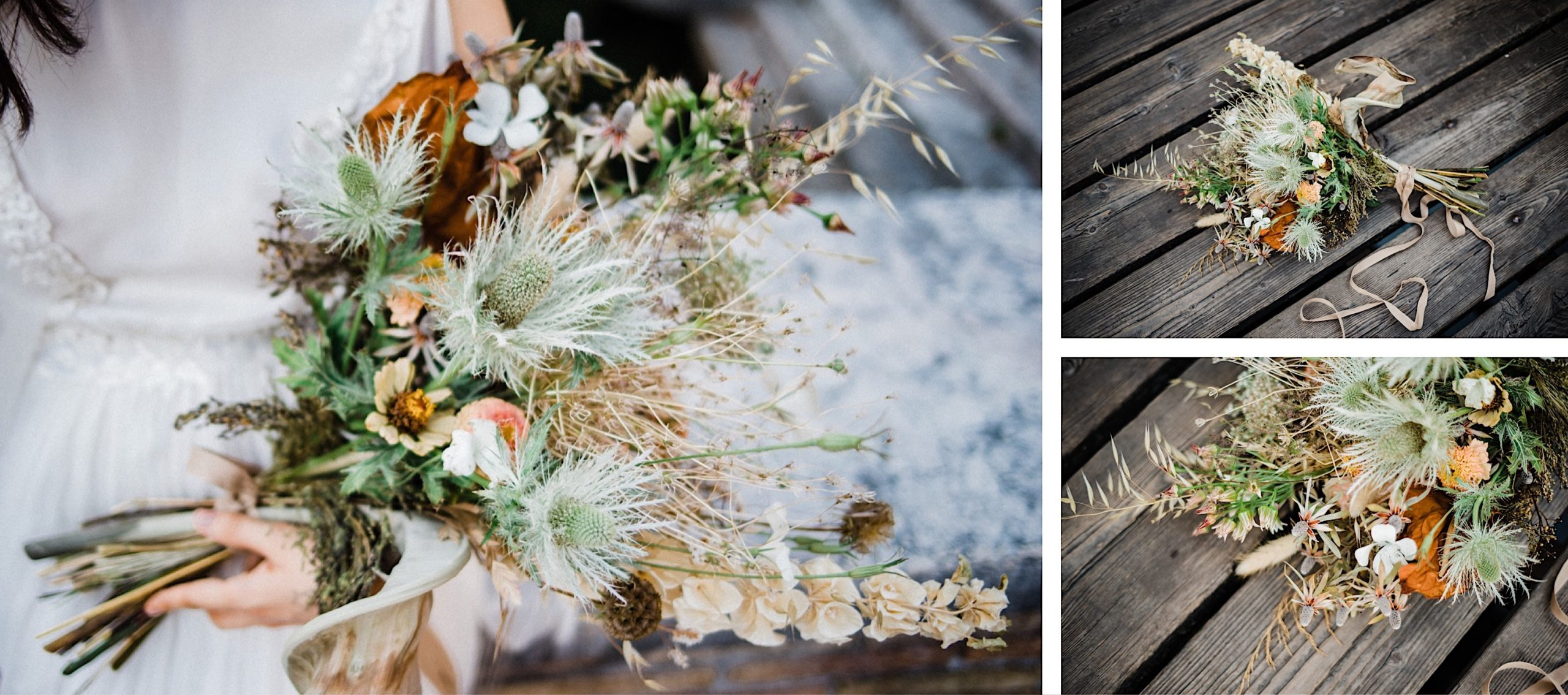 Three images of a beautiful, romantic bridal bouquet made by Signora Radici using dried and fresh flowers.