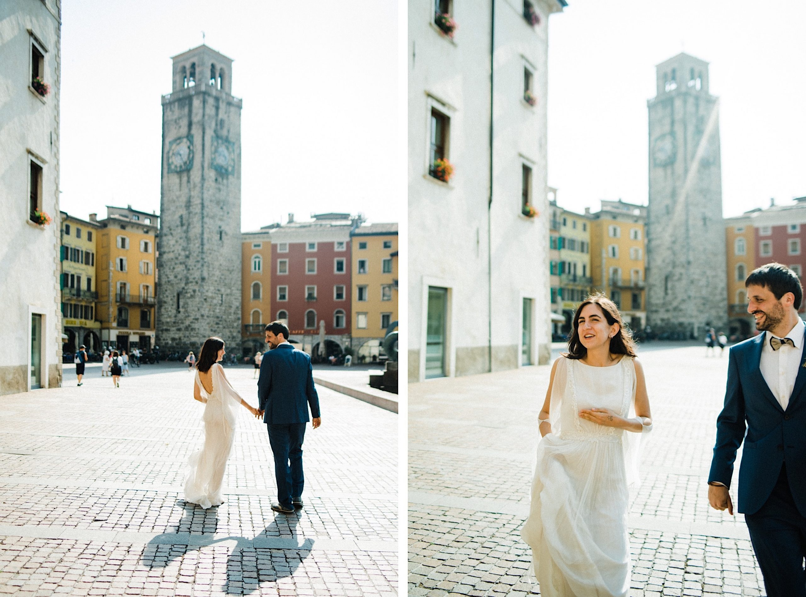 Two photos, side-by-side, of a newly married couple running through a piazza in Italy, in front of a clock tower.