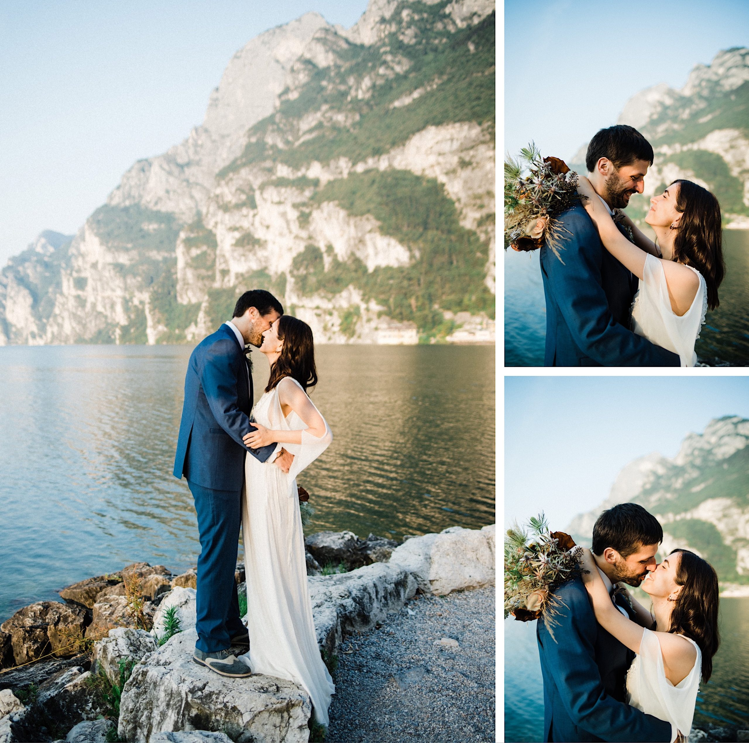 A set of three romantic, intimate photos from a Boho Summer Elopement in Italy. On the left, a wide portrait shot of the couple standing on rocks by the lake and kissing. On the right, two medium shots of the newly married couple sharing a kiss.