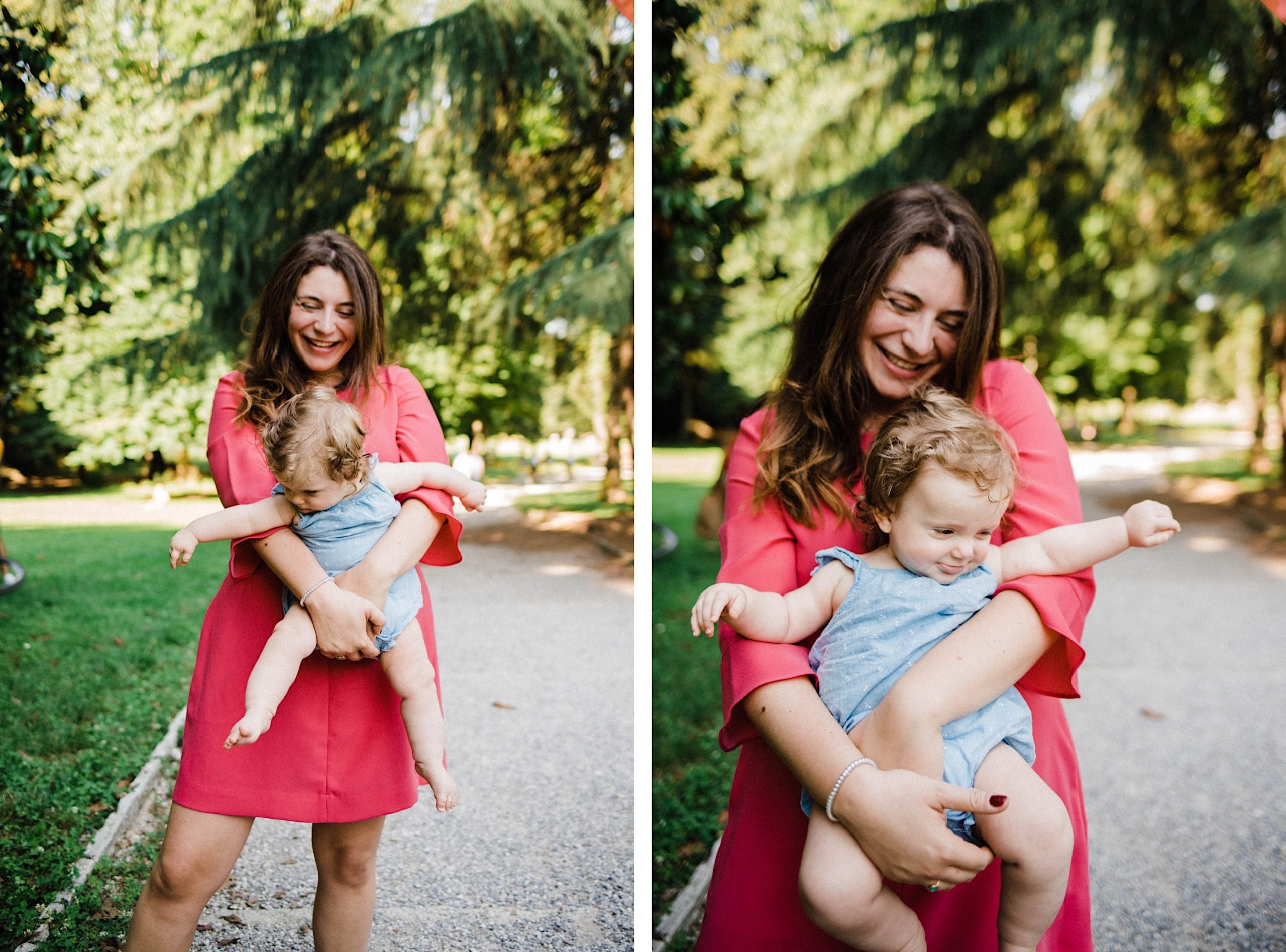 Side-by-side portrait oriented images of a Mum, who's wearing a pink dress, holding her baby girl and laughing at the Parco di Monza in Italy.