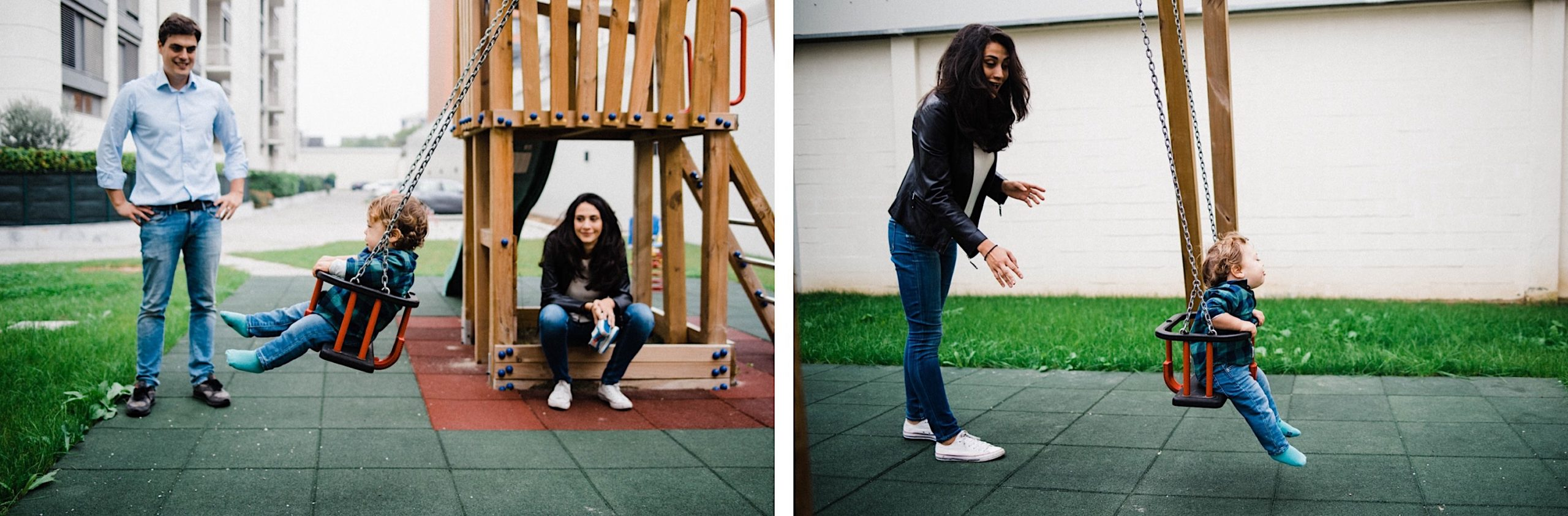 Two photos of a boy playing on a swing, on the left his Mum watches on while his Dad pushes the swing. In the second his Mum is pushing the swing.