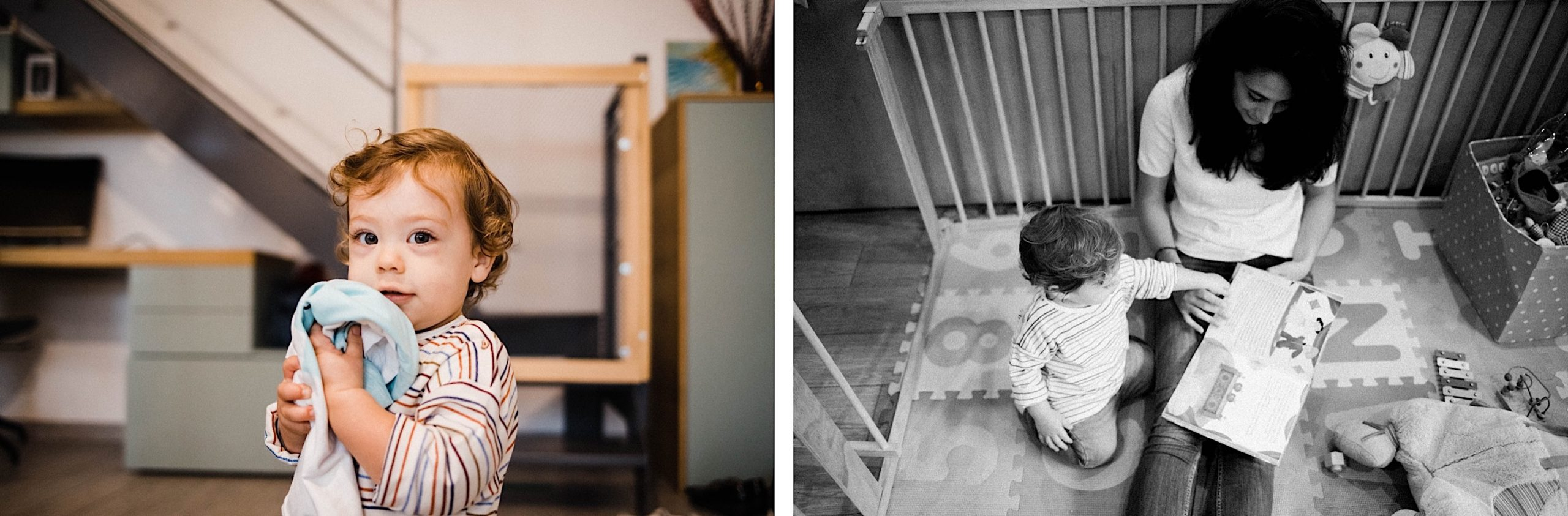 Portraits of a little boy and his Mum reading together during their In-Home Family Photography Session in Milan.
