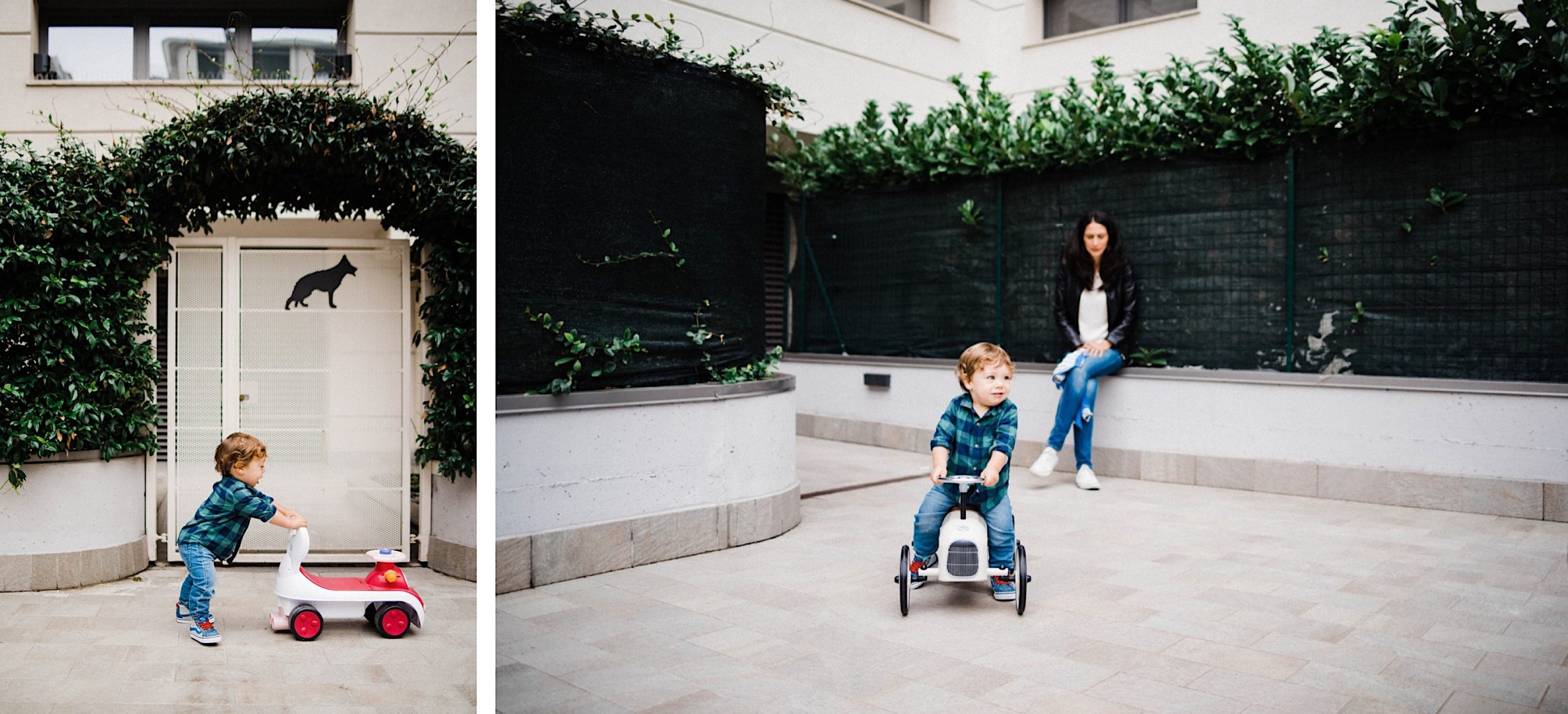 Side-by-side fun family portraits of a little boy playing with a bike in a courtyard at his home.