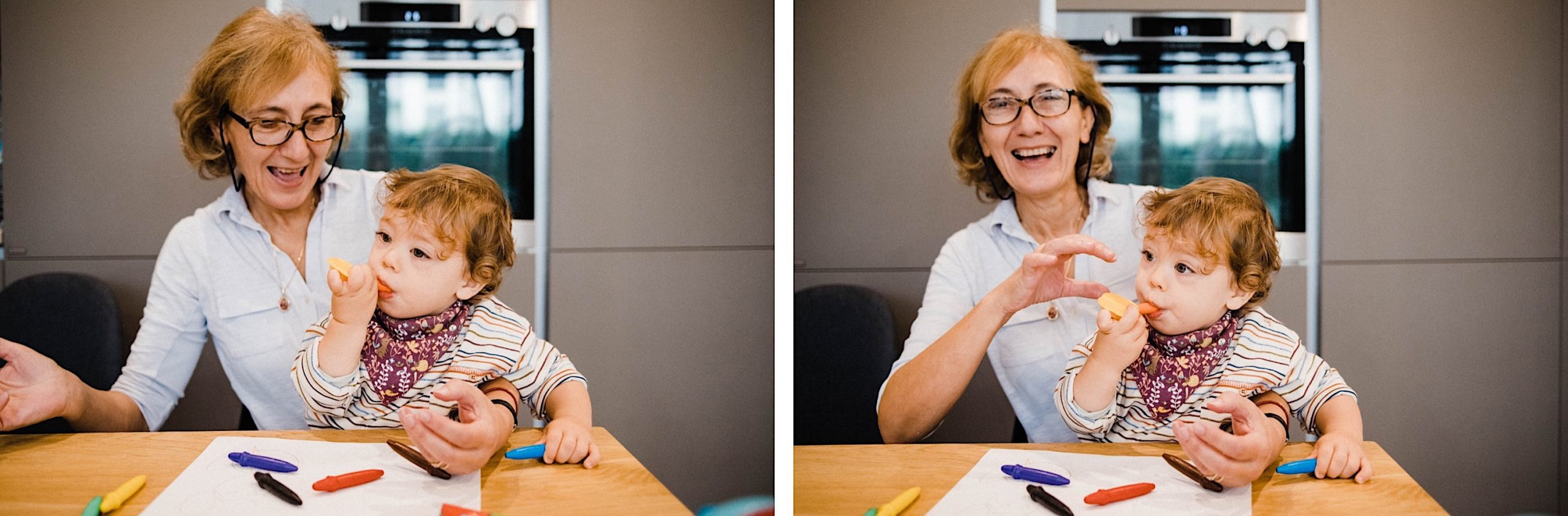 Two photos of a toddler playing with his Grandma during an In-Home Family Photography Session in Milan.