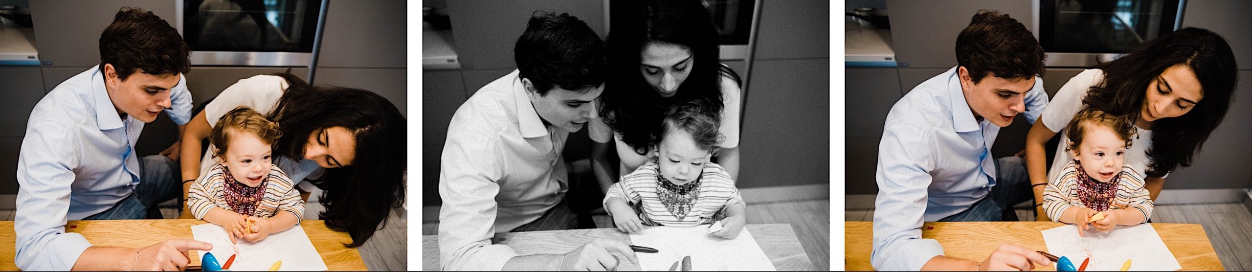 In-Home Family Photography of a family, in this case Mum, Dad & baby boy, drawing at a table together at their home in Milan, Italy.