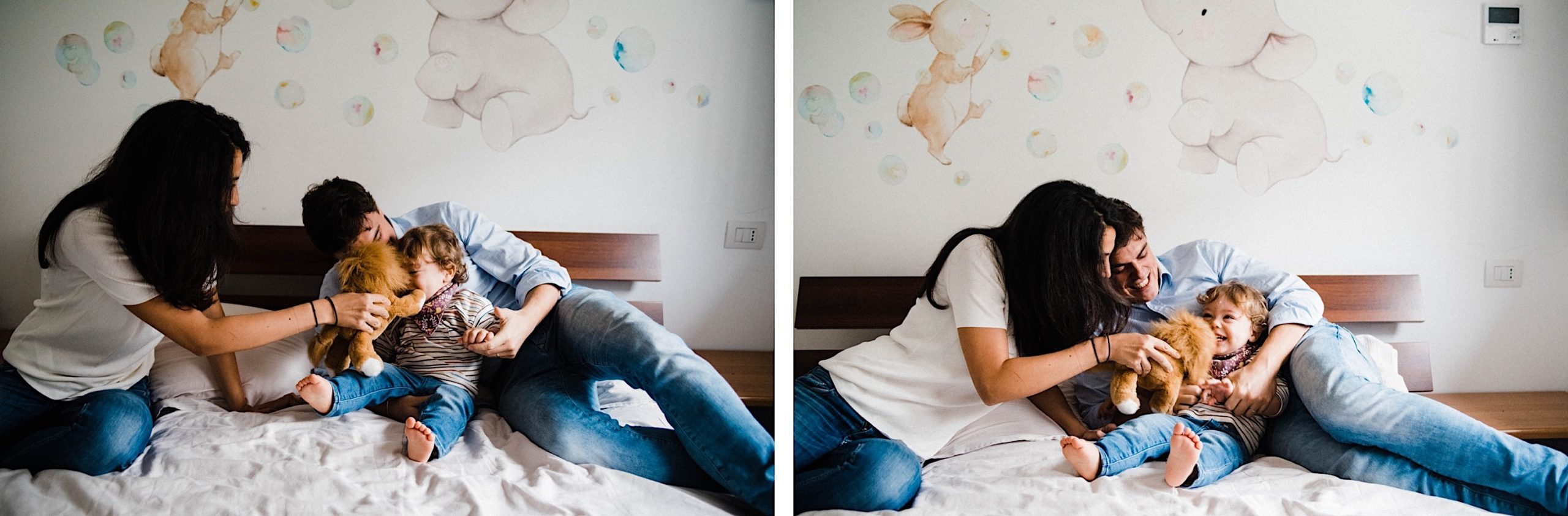 Two family portraits, side by side, of a Mum & Dad tickling their toddler and making him laugh. Both photos taken during an In-Home Family Photography session in Milan, Italy.