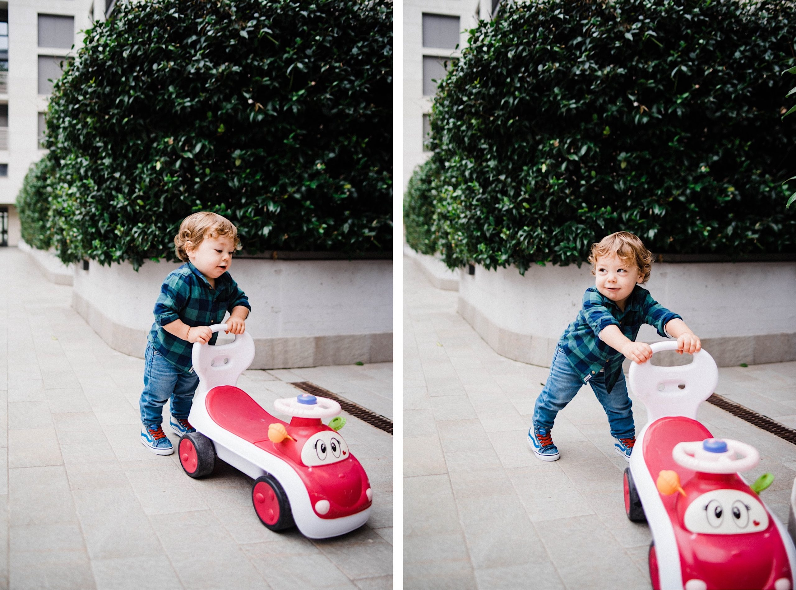 Two portrait-oriented photos of a little boy smiling and laughing playing with a red car toy.